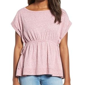 Caslon Heather Purple Tie Waist Peplum Tee